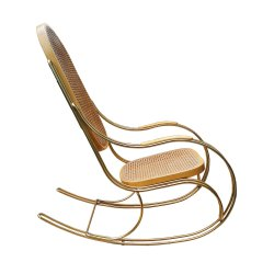 vintage-gilt-metal-cane-rocking-chair